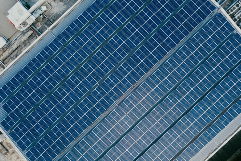 Bird's eye view of solar panels on a rooftop
